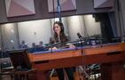 Composer/conductor Sherri Chung prepares to record