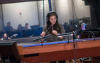 Composer Sherri Chung conducts the orchestra during the <i>Blindspot</i> sessions