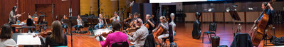 Composer/conductor Sherri Chung and the string orchestra record a cue for <i>Blindspot</i>