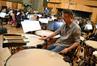 Timpanist Wade Culbreath prepares the timpani