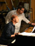 Composer Christopher Lennertz goes over the a cue with pianist Randy Kerber