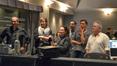 Conductor Michael Kosarin, studio creative VP Lisa Lang McMullen, creative consultant Stephanie Levine, composer Christopher Lennertz, show writer Kat Likke, and composer Alan Menken watch playback