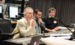 Composers Alan Menken and Christopher Lennertz with scoring mixer Frank Wolf