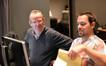 Music editor Chris Brooks and ProTools recordist Adam Michalak