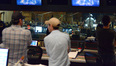 Composer John Paesano and director Wes Ball's view from the booth of conductor and orchestrator Pete Anthony with the orchestra
