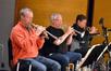 The trumpets: Jon Lewis, Malcolm McNab , and Wayne Bergeron