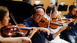 The strings record a cue from John Williams' score for <em>Star Wars: The Force Awakens</em>