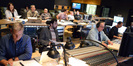 Matt Walker (Senior VP Music - Walt Disney Studios), featured instrumentalist Bleu McAuley, composer Joel McNeely and scoring mixer Richard Breen in the front row of the booth at Fox