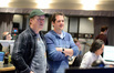 Director Brad Bird and composer Michael Giacchino watch the playback with score