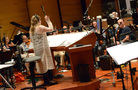 Composer/conductor Alison Plante with the Hollywood Chamber Orchestra
