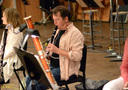 Clarinetist Stuart Clark warms up