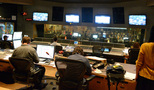 The view from the back of the control room at Fox