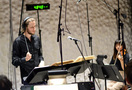 Co-composer and conductor Ludwig Göransson records a cue with the orchestra