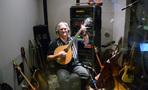 Guitarist George Doering displays his variety of guitars