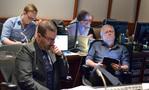 Alan Menken's music assistant Aaron Kenny, composer Chris Lennertz, music editor Christopher Brooks (rear), and composer Alan Menken