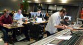 Alan Menken's music assistant Aaron Kenny, music editor Christopher Brooks, ProTools recordist Adam Michalak, composer Chris Lennertz, and scoring mixer Frank Wolf