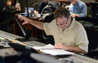 Scoring mixer Frank Wolf works on setting levels