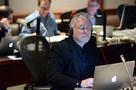 Composer Alan Menken reviews a cue