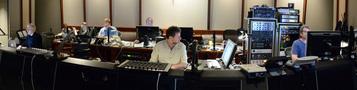 Composer Alan Menken, composer Chris Lennertz, Alan Menken's music assistant Aaron Kenny, music editor Christopher Brooks, scoring mixer Frank Wolf, and stage recordist Tom Hardisty