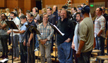 The choir enjoys a break