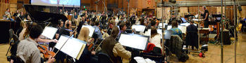 An 83-piece orchestra records a cue from composer/conductor John Debney's score to <i>Ice Age: Collision Course</i>