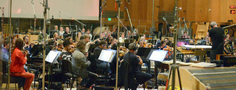 The Hollywood Studio Symphony records a cue with composer/conductor John Debney