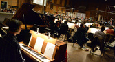 Pianist Mike Watts and the orchestra