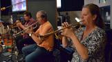 The trumpet section: Wayne Bergeron, Jon Lewis, and Marissa Benedict