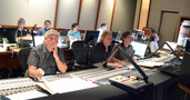 Inside the booth: (front row) orchestrator Dave Metzger, composer Mark Mancina, scoring mixer Dave Boucher, stage recordist Tom Hardisty; (back row) music editor Earl Ghaffari, Music Production Director Andrew Page, ProTools Larry Mah, music editor Dan Pinder
