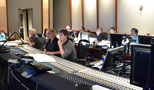 Orchestrator Dave Metzger, composer Mark Mancina, scoring mixer Dave Boucher, Walt Disney Studios Senior VP of Music Tom MacDougall (obscured), music technical consultant Marlon Espino, music editor Earl Ghaffari, music production director Andrew Page, and ProTools recordist Larry Mah