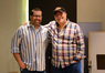 Composer Chris Lennertz with trumpet player Arturo Sandoval