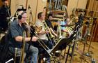 The low brass: Paul Salvo (rear), Alex Iles, Alan Kaplan, Phil Teele, John Van Houten