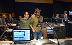Director Justin Lin discusses a cue with composer Michael Giacchino
