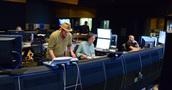 Composer Michael Giacchino, scoring mixer Joel Iwataki, and stage recordist Tim Lauber
