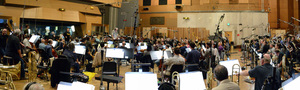 Orchestrator Tim Simonec conducts a 98-piece orchestra during the <i>Star Trek Beyond</i> sessions