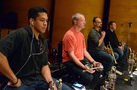 The trumpet section: Barry Perkins, Jon Lewis, Dan Rosenboom, and Rob Schaer