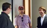 Scoring crew member Ryan Robinson, and co-director Doug Sweetland talk with co-composer Jeff Danna