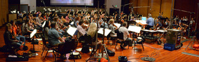 The orchestra records a cue for the Danna brothers' score to <i>Storks</i>