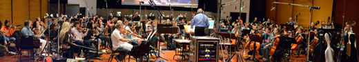 The orchestra records a cue from </i>Storks</i> with conductor/orchestrator Nicholas Dodd