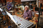 Percussionist Emil Richards performs on vibraphone