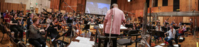 Conductor Tim Simonec and the Hollywood Studio Symphony record a cue from Michael Giacchino's score for <i>War for the Planet of the Apes</i>