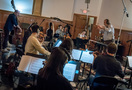Nicholas Dodd conducts the musicians on <em>Alias Grace</em>