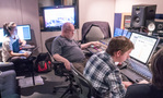 Inside the control room at The Village Studios: (l-r) Scoring assistant Shirley Song, engineer John Whynot, additional music composer John Fee