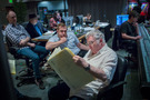 Disney music producer Tom MacDougall, music editor Joe E. Rand, director Brian Fee, composer Randy Newman and scoring mixer Dave Boucher