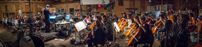 The strings records a cue for <em>The Dark Tower</em> with conductor Ed Trybeck