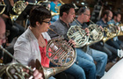 French hornist Laura Brenes and the French horns record a cue