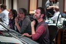Scoring mixer Greg Hayes enjoys composer Heitor Pereira's (left) score to director Pierre Coffin's <i>Despicable Me 3</i>