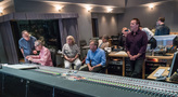 Music librarian Marshall Bowen, orchestrator Geoff Stradling, Paramount VP of Music Production Kim Seiniger, producer Mark Johnson, director Alexander Payne (rear), and scoring mixer Greg Townley