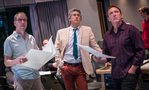 Composer Rolfe Kent, director Alexander Payne, and scoring mixer Greg Townley listen to the score with the playback