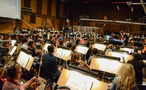 Composer/conductor Brian Tyler prepares to record with the Hollywood Studio Symphony